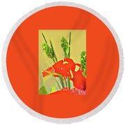 Aloha Bouquet Of The Day -- Red Anthuriums With Green Ginger, A Portion  Round Beach Towel
