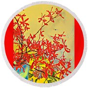 Aloha Bouquet Of The Day -- Red Orchids In Blue Vse Round Beach Towel