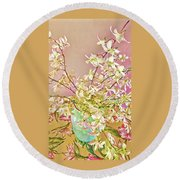 Aloha Bouquet Of The Day - White Orchids In Pink Round Beach Towel