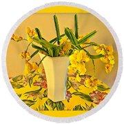 Aloha Bouquet Of The Day - Yellow Wild Flowers Round Beach Towel