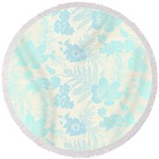 Aloha Damask Cream Aqua Round Beach Towel