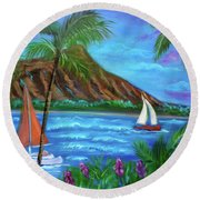 Aloha Diamond Head Round Beach Towel by Jenny Lee