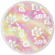 Aloha Lace Passion Guava Sorbet Round Beach Towel