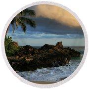 Aloha Naau Sunset Paako Beach Honuaula Makena Maui Hawaii Round Beach Towel