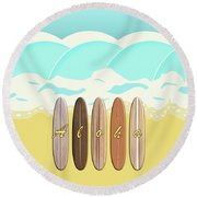 Aloha Surf Wave Beach Round Beach Towel
