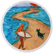 Round Beach Towel featuring the painting Aloha Surfer by Xueling Zou