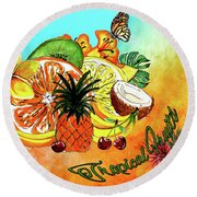 Round Beach Towel featuring the digital art Aloha Tropical Fruits By Kaye Menner by Kaye Menner