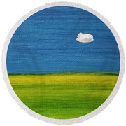 Round Beach Towel featuring the painting Alone And Fine by Judith Rhue