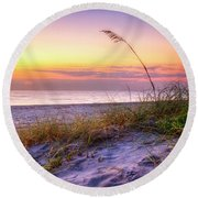 Round Beach Towel featuring the photograph Alone At Dawn by Debra and Dave Vanderlaan