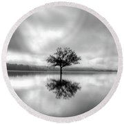 Round Beach Towel featuring the photograph Alone Bw by Douglas Stucky