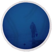 Alone By The Sea Round Beach Towel