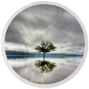 Round Beach Towel featuring the photograph Alone by Douglas Stucky