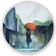 Alone In The Abandoned Town Round Beach Towel