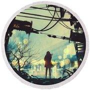 Round Beach Towel featuring the painting Alone In The Abandoned Town#2 by Tithi Luadthong