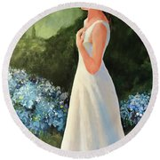 Alone In The Garden Round Beach Towel