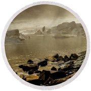 Round Beach Towel featuring the photograph Alone In The Mist by Iris Greenwell