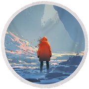 Round Beach Towel featuring the painting Alone In Winter by Tithi Luadthong