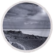 Alone With The Sea Round Beach Towel