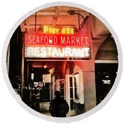 Round Beach Towel featuring the photograph Along Bourbon Street - New Orleans by Glenn McCarthy Art and Photography