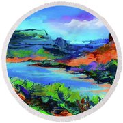 Along Colorado River - Utah Round Beach Towel by Elise Palmigiani