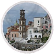 Along The Amalfi Coast Round Beach Towel
