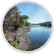 Along The Bank Of The Delaware River Round Beach Towel by Judy Wolinsky
