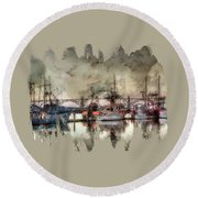 Round Beach Towel featuring the photograph Along The Bay Front by Thom Zehrfeld