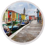 Along The Canal In Burano Island Round Beach Towel