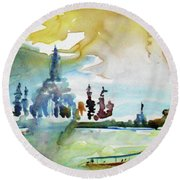 Along The Chao Phaya River Round Beach Towel