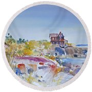 Along The Coast Round Beach Towel