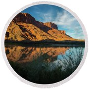 Round Beach Towel featuring the photograph Along The Colorado by Gary Lengyel