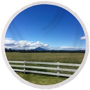 Along The Fence Line Round Beach Towel