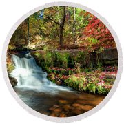 Round Beach Towel featuring the photograph Along The Horton Trail by Anthony Citro