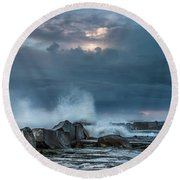 Along The Jetty Round Beach Towel by Greg Nyquist
