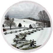 Along The Locust Rails In Winter Round Beach Towel