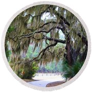 Round Beach Towel featuring the photograph Along The Path by Kathryn Meyer
