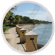 Along The Pier Round Beach Towel