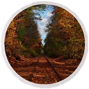 Along The Rails Round Beach Towel by Tricia Marchlik