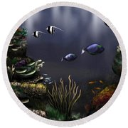 Along The Reef Round Beach Towel by Ron Grafe