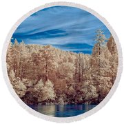 Along The Smith River In Infrared Round Beach Towel