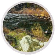 Along The Stream Round Beach Towel