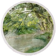 Round Beach Towel featuring the painting Along The Susquehanna by Melly Terpening