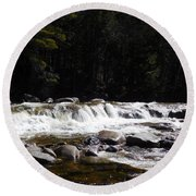 Along The Swift River Round Beach Towel