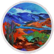 Along The Trail - Arizona Round Beach Towel by Elise Palmigiani