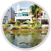Round Beach Towel featuring the photograph Along The Venice Canals by Chuck Staley