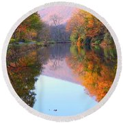 Along These Autumn Days Round Beach Towel