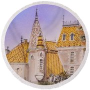 Round Beach Towel featuring the painting Aloxe Corton Chateau Jaune by Mary Ellen Mueller Legault