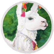 Alpaca With Attitude Round Beach Towel