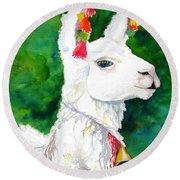 Alpaca With Attitude Round Beach Towel by Carlin Blahnik