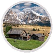 Round Beach Towel featuring the photograph Alpe Di Suisi Cabin by James Udall